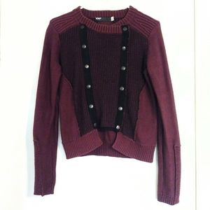Fox Red/Black Double Breasted Snap Sweater Jacket